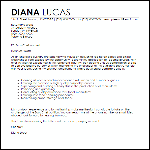 Sous Chef Cover Letter Sample