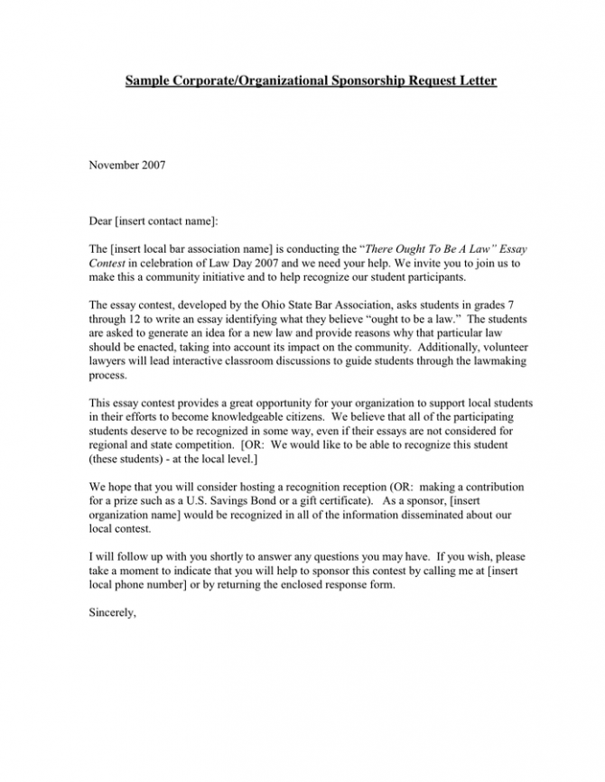Sponsorship Request Letter In Word And Pdf Formats