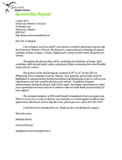 Sponsorship Request Letter Sample