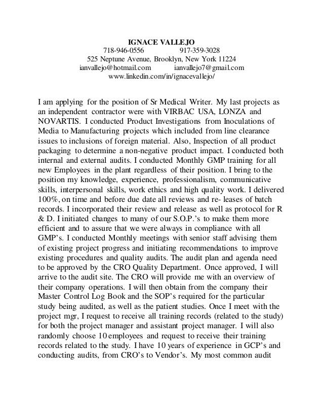 Sr Medical Writer Cover Letter