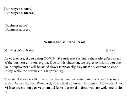 Stand Down Letter Due To Covid