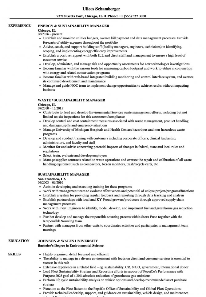 Sustainability Manager Resume Samples