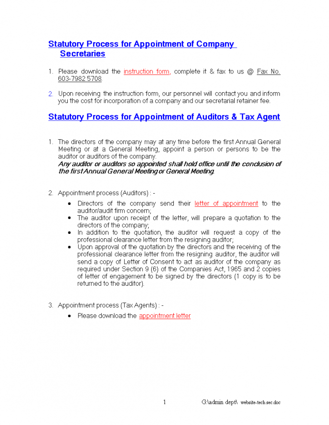 Tax Agent Appointment Letter
