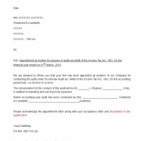 Tax Auditor Appointment Letter