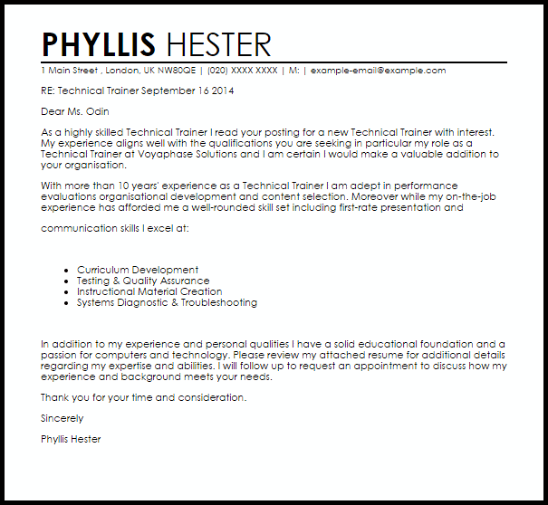 Technical Trainer Cover Letter Sample