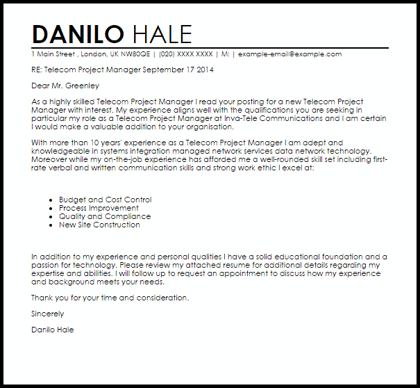Telecom Project Manager Cover Letter Sample