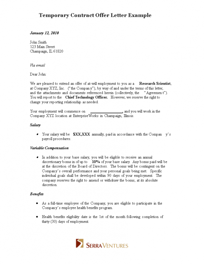 Temporary Contract Offer Letter