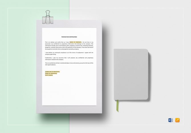 Termination Certification Template In Word  Google Docs  Apple Pages