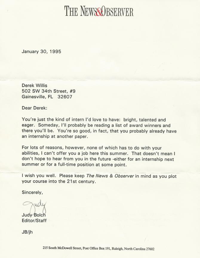 The Best Internship Rejection Letter