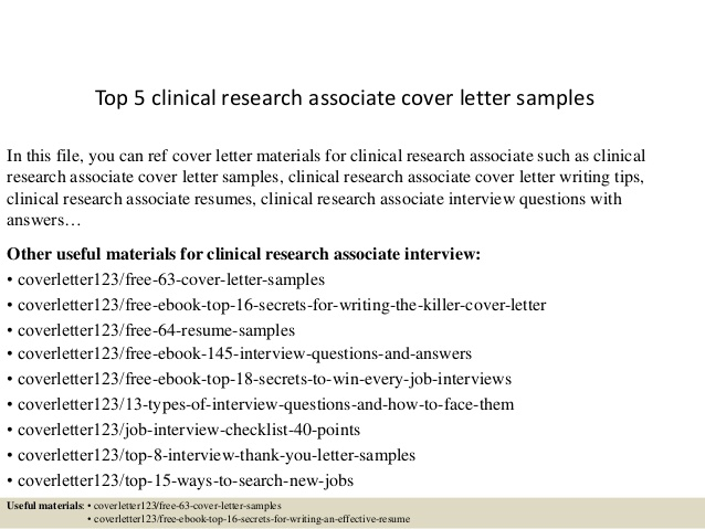 Top  Clinical Research Associate Cover Letter Samples
