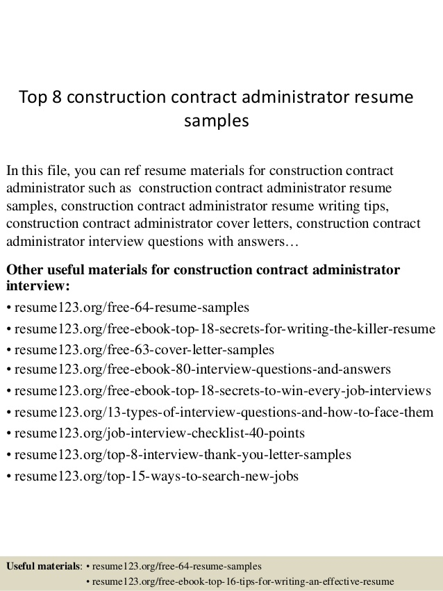 Top  Construction Contract Administrator Resume Samples