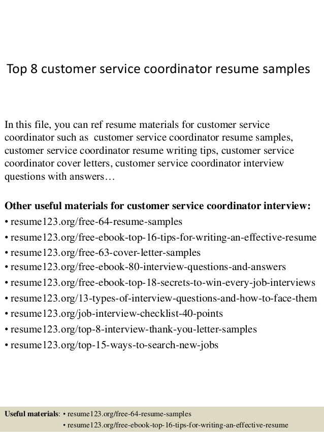 Top  Customer Service Coordinator Resume Samples