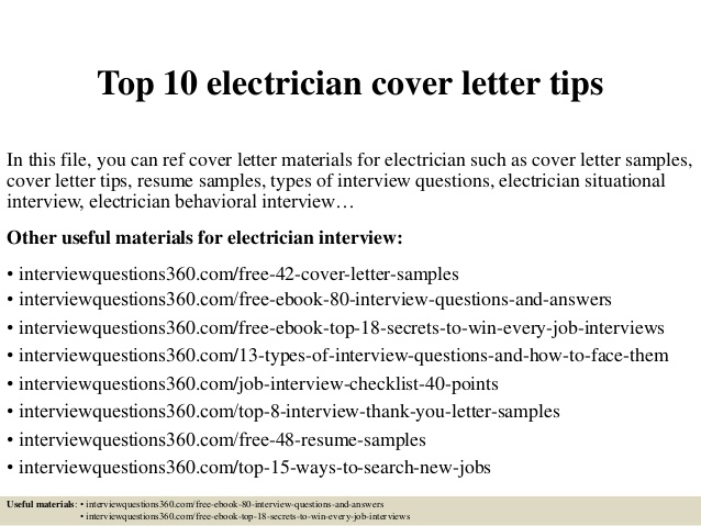 Top  Electrician Cover Letter Tips