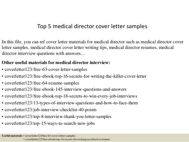 Top  Medical Director Cover Letter Samples