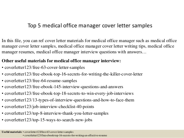 Top  Medical Office Manager Cover Letter Samples