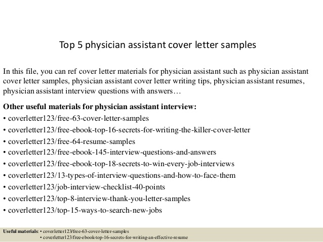Top  Physician Assistant Cover Letter Samples