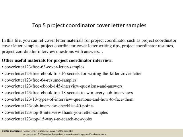 Top  Project Coordinator Cover Letter Samples