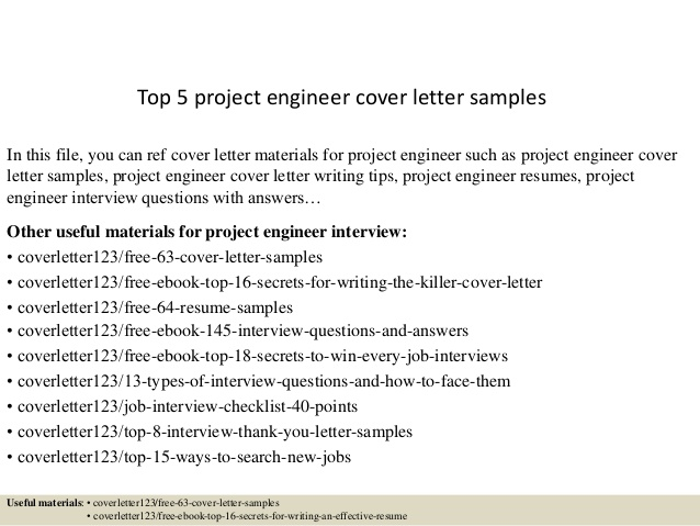 Top  Project Engineer Cover Letter Samples