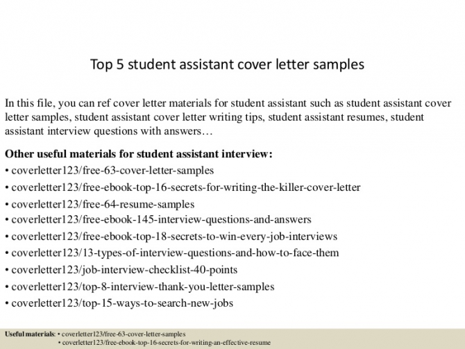 Top  Student Assistant Cover Letter Samples