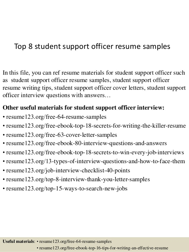 Top  Student Support Officer Resume Samples