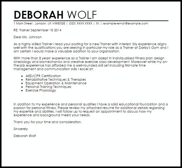 Trainer Cover Letter Sample