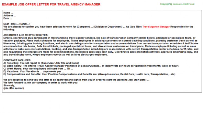 Travel Agency Manager Offer Letter
