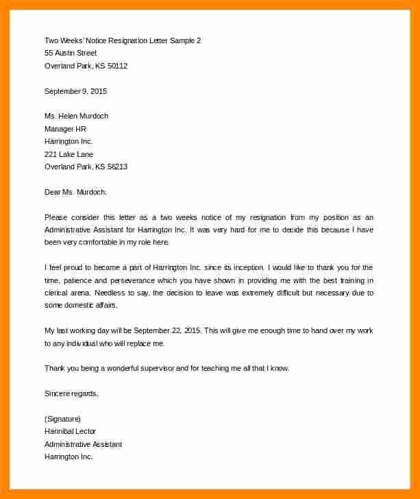 Two Weeks Notice Template Word Inspirational  Two Week Notice