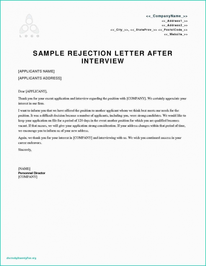Unique Rejection Letter To Job Applicant