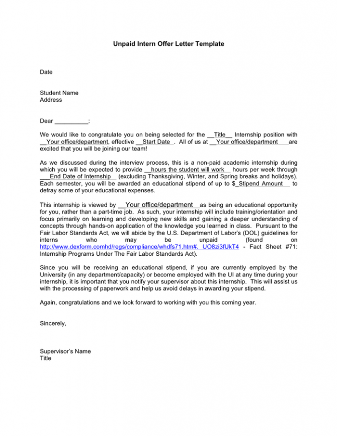 Unpaid Intern Offer Letter Template In Word And Pdf Formats