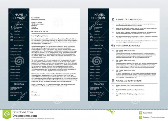 Vector Minimalist Creative Cover Letter And One Page Resumecv