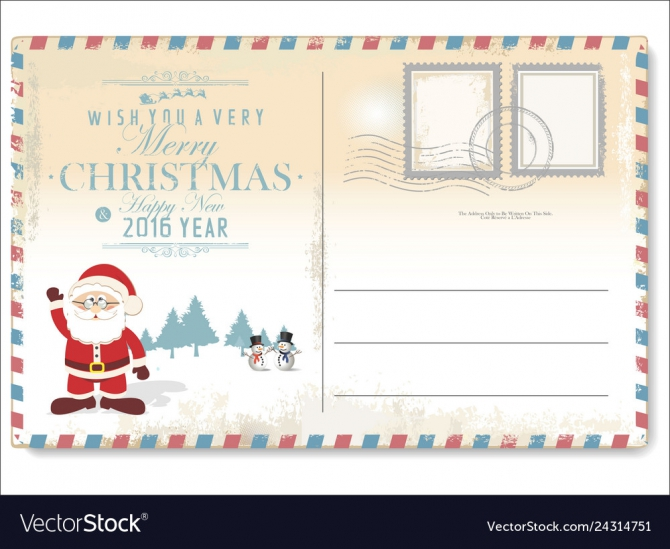 Vintage Christmas Letter To Santa Claus Royalty Free Vector
