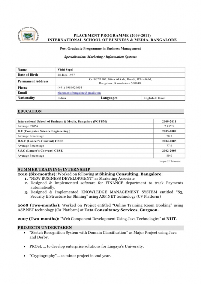 Vishi Resume For College