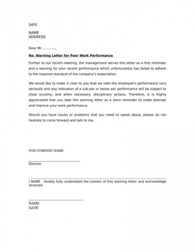 Warning Letter For Poor Attendance