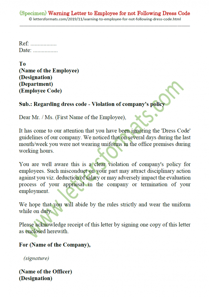 Warning Letter To Employee For Not Following Uniform Dress Code