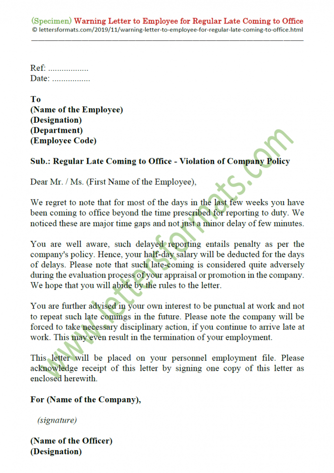 Warning Letter To Employee For Regular Late Coming To Office