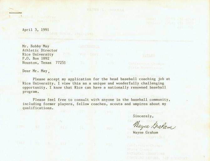 Wayne Grahams  Cover Letter For The Rice Baseball Head