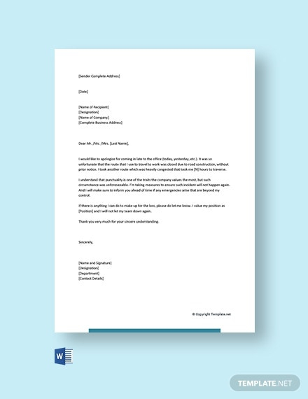 Work Apology Letter Templates