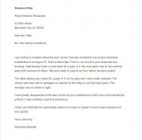 Customer Service Complaint Letter