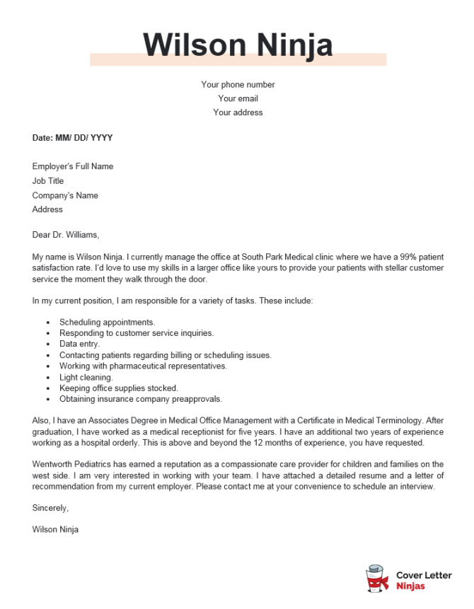 A Compelling Medical Receptionist Cover Letter Example