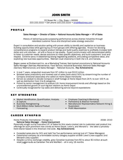 A Resume Template For A National Sales Manager You Can Download