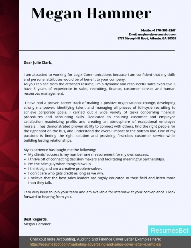 Account Executive Cover Letter Samples   Templates Pdfword