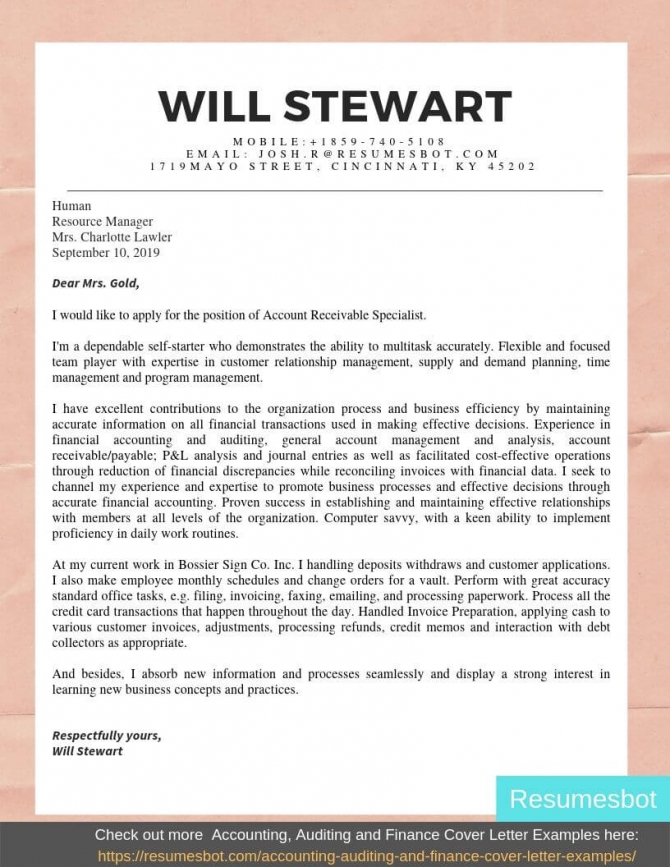 Account Receivable Cover Letter Samples   Templates Pdfword