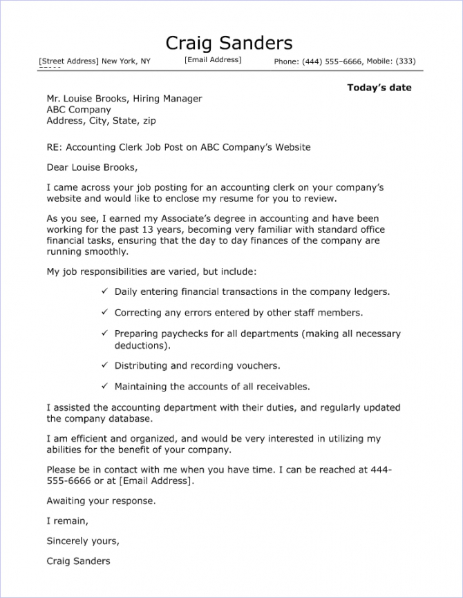 Accounting Clerk Cover Letter Sample