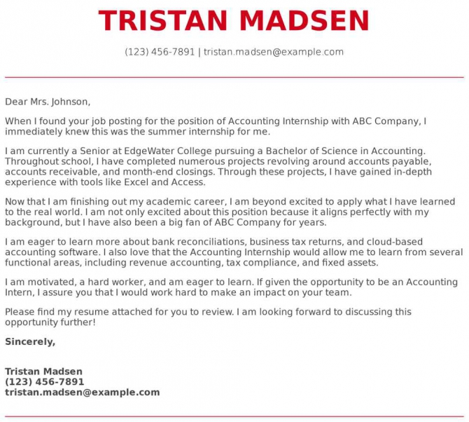 Accounting Internship Cover Letter Examples  Samples   Templates