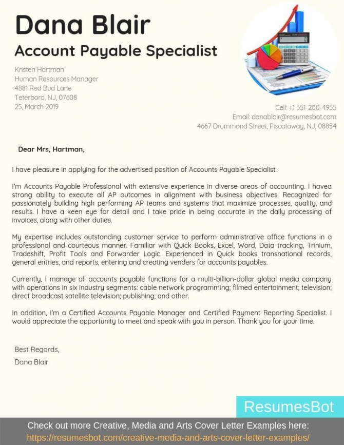 Accounts Payable Specialist Cover Letter Samples   Templates Pdf
