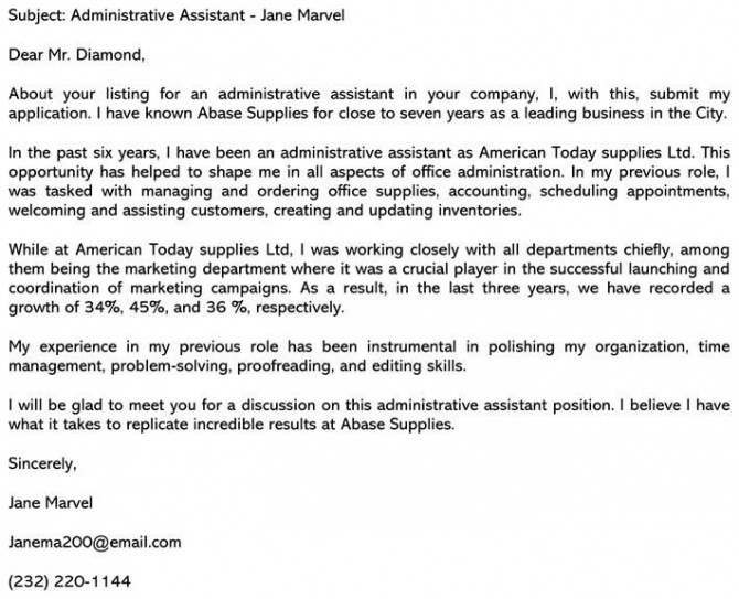 Administrative Assistant Cover Letter Sample   Email Example