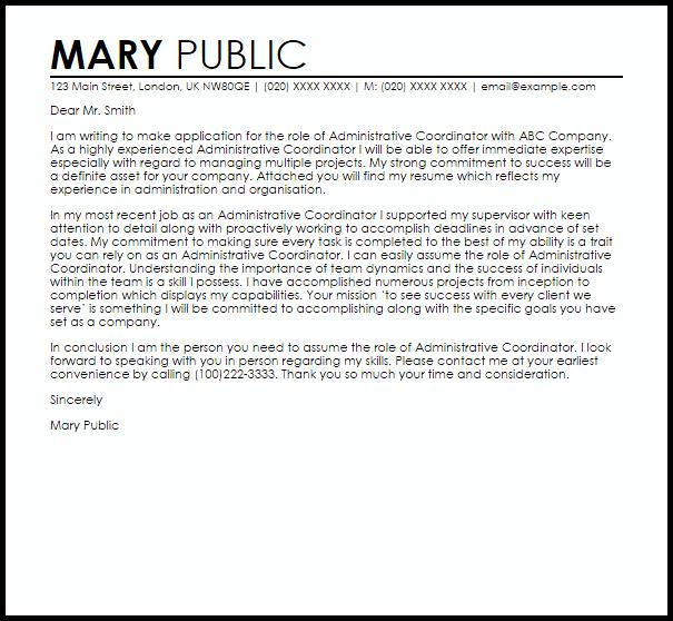 Administrative Coordinator Cover Letter Sample