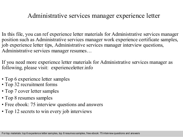 Administrative Services Manager Experience Letter