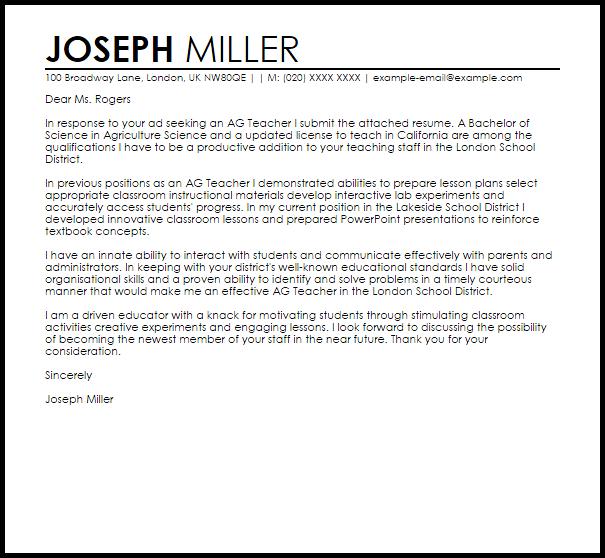 Ag Teacher Cover Letter Sample
