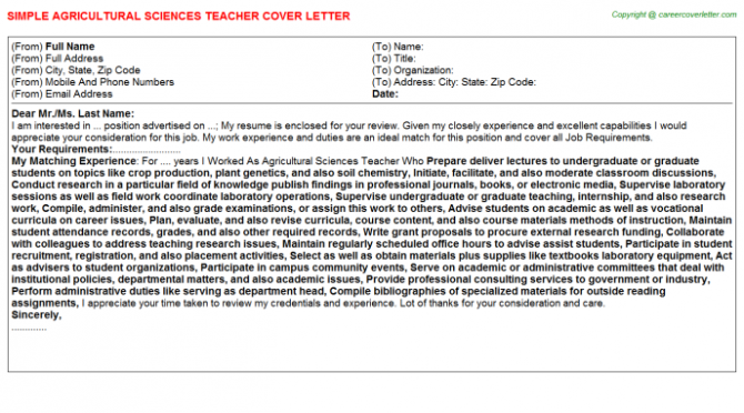 Agricultural Sciences Teacher Cover Letter